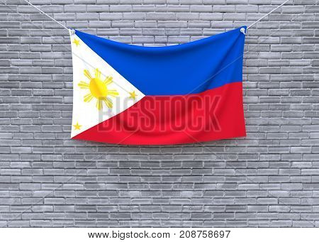 Philippines flag on brick wall. 3D illustration