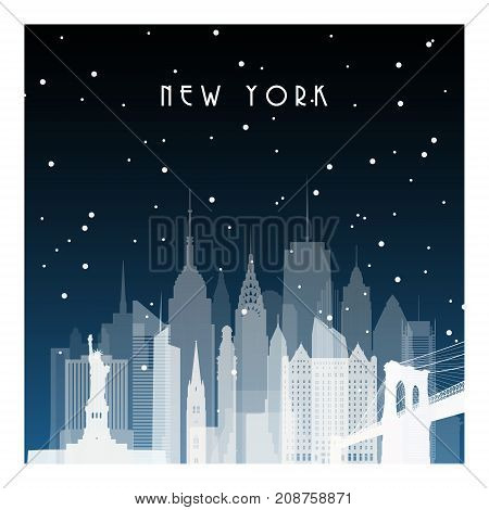 Winter night in New York. Night city in flat style for banner poster illustration game background.