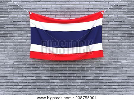 Thailand flag on brick wall. 3D illustration