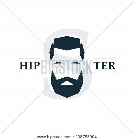 The bearded hipster emblem. Suitable for a logo or badge. Vector illustration.