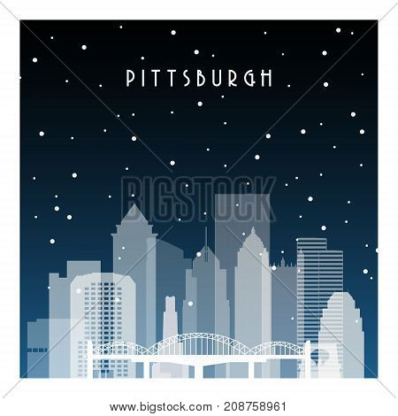 Winter night in Pittsburgh. Night city in flat style for banner poster illustration game background.