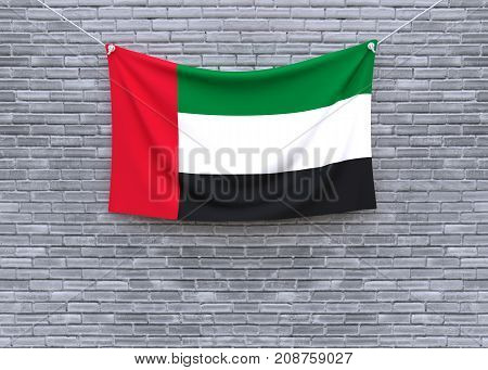 Kuwait flag on brick wall. 3D illustration