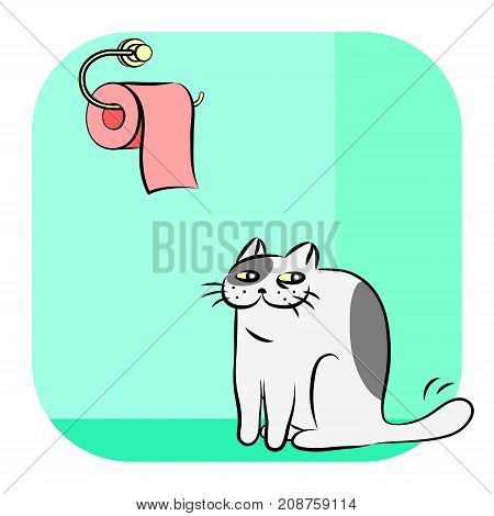 Toilet Paper and Cute Cat. Vector Illustration on Green Background. Cartoon Funny Character Pet for Web Icon.