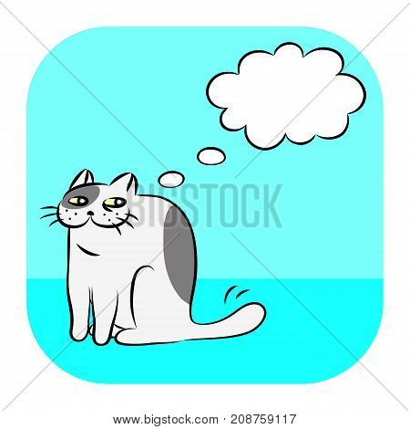 Evil cat thought bubbles icon. Vector illustration. Funny animal character.