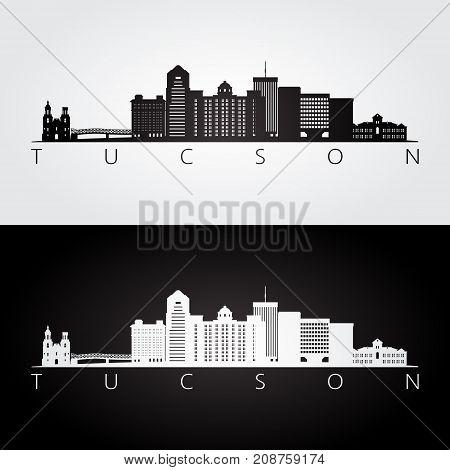Tucson usa skyline and landmarks silhouette black and white design vector illustration.