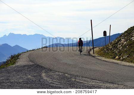 Cyclist Arriving At Semnoz Summit, Savoy, France