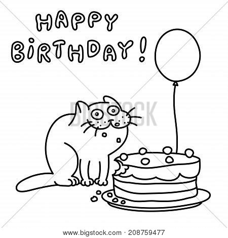 Funny cat with a cake and a balloon congratulates. Happy Birthday. Vector illustration