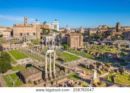 Aerial View Of Roman Forum Or Foro Romano In Rome, Italy