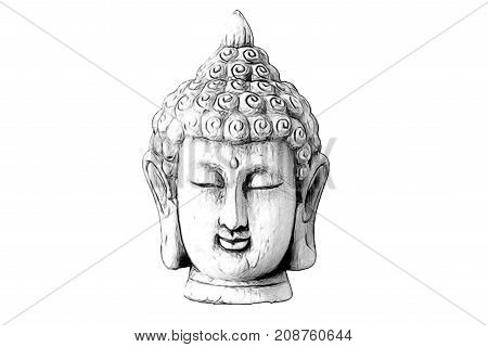A drawing with the face of buddha in vector format