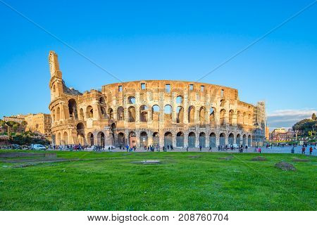View Of Colosseum And Sunset In Rome, Italy
