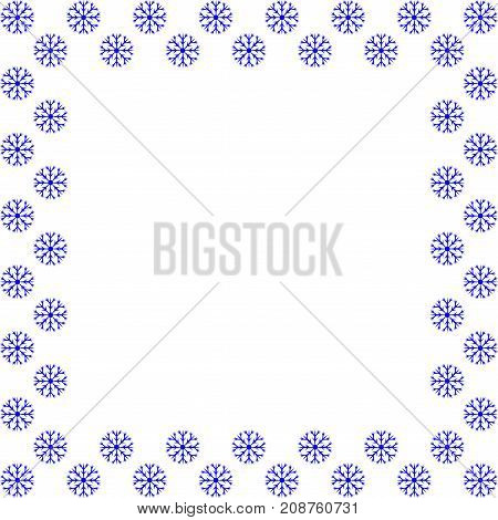 Snow frame. Blue framework isolated on white background. Decoration new year concept Border from snowflake. Stock vector illustration