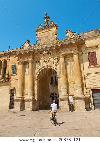 Porta San Biagio Gate Of Lecce. Puglia, Italy.