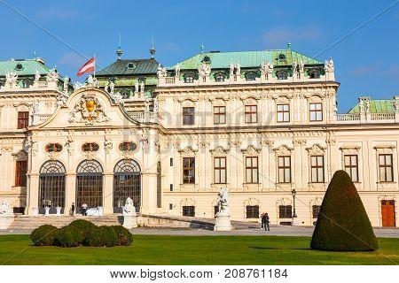 Vienna Austria - October 15 2016: Belvedere Palace And Garden In Vienna. The Main Palace - Upper Bel