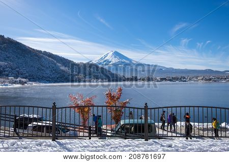 Yamanashi Japan - November 25 2016: The tourists at Kawaguchi Lake with Mount Fuji in the winter season