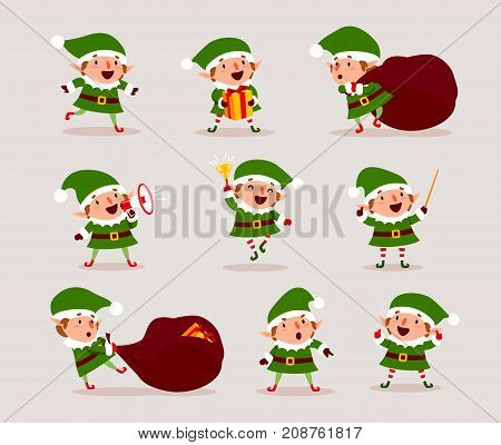 Set of cute playful Christmas elves. Collection of cute Santa Claus helpers. Happy New Year Merry Xmas design element.