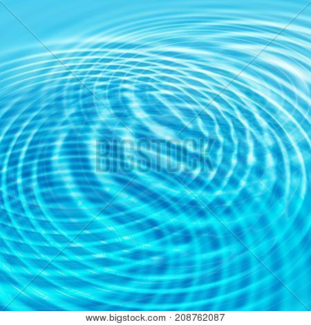 Abstract bright blue water background with circles ripples