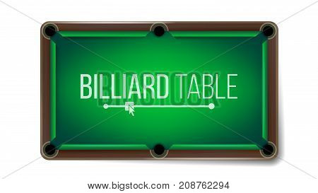 Realistic Billiard Table Vector. American Pool Table. Sport Theme. Top View. Isolated On White Illustration