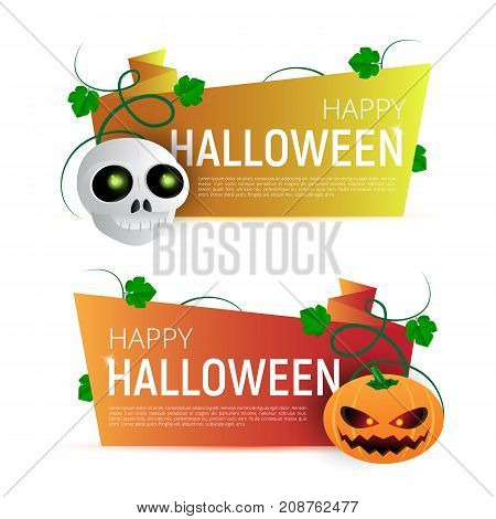 Happy Halloween Sale Vector Banner Or Sticker Design Template With Leaves, Pumpkin And Skull