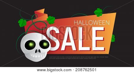 Happy Halloween Sale Vector Banner Or Sticker Design Template With Leaves And Skull
