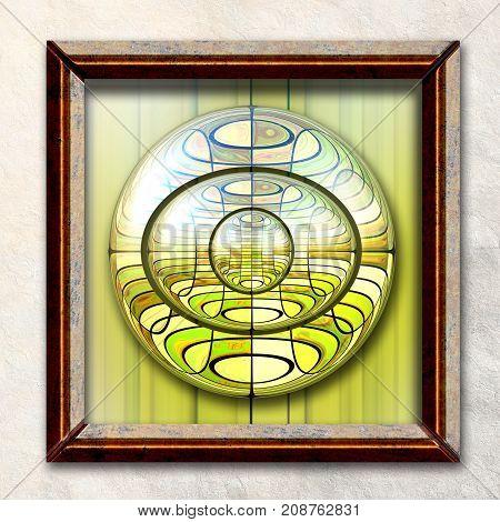 3D rendering combo artwork with fractal and superimposed fractal buttons in elegant frame