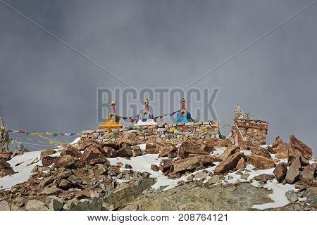 Stupas on Khardung La pass at 5450 m in the Himalayas (Buddhistic symbol) - Ladakh