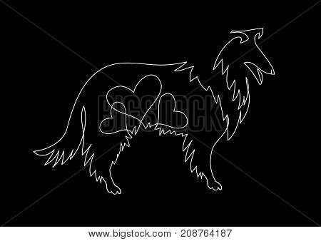 Dog vector. Collie vector illustration drawn freehand. Original linear image of a Collie with hearts. Purebred dog standing in side view.