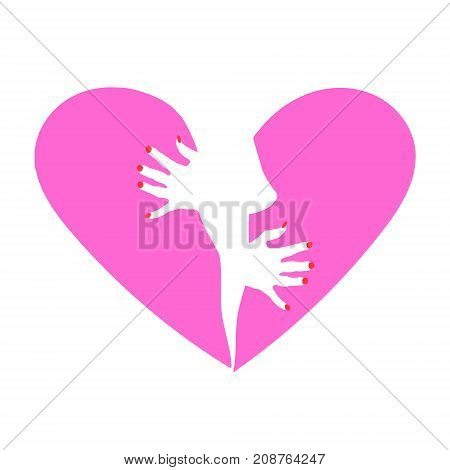 Heart symbol with a drawing of the female breast and hands. Can be used as an emblem of women's health or card for Valentine's day