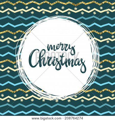 Hand-written inscription Merry Christmas and patern with colorful zigzag lines. Vector background suitable for greeting cards covers posters invitations.