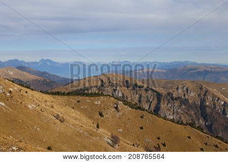 Panorama From The Top Of The Mountain Called Monte Grappa In Ita