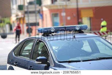 Police Car During Patrol Of The City