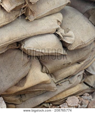 Sandbags For Protection In A Trench