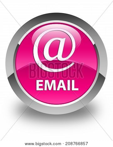 Email (address Icon) Glossy Pink Round Button