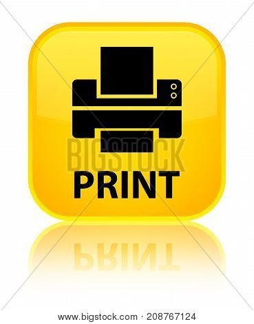 Print (printer Icon) Special Yellow Square Button