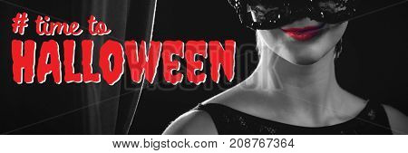 Digital composite image of time to Halloween text against portrait of woman in masquerade mask
