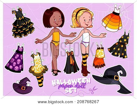 Cute Paper Doll In Halloween Theme.