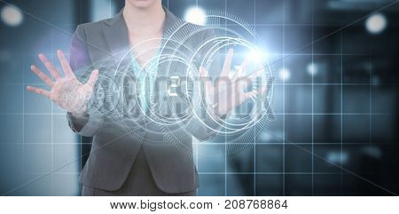 Businesswoman using digital screen against interface dial countdown with blue background