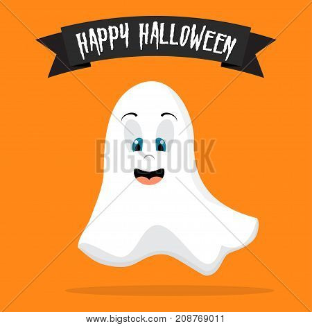 Flying ghost spirit. Happy Halloween. Scary white ghost. Cute cartoon spooky character. Orange background. Greeting card. Flat design. Vector illustration