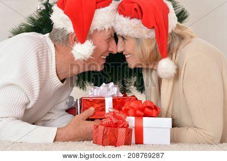 Portrait of smiling senior couple  celebrating Christmas at home.