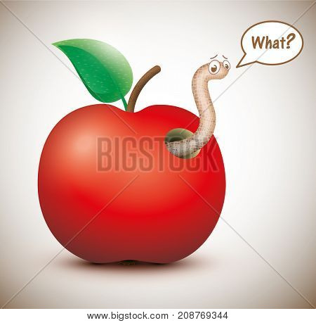 Red apple with funny worm