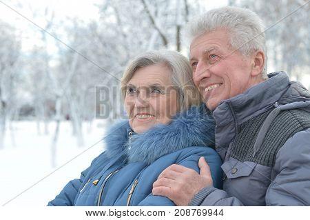 Portrait of happy senior couple at winter outdoors