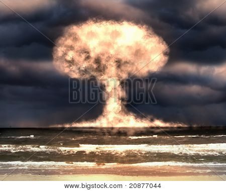 Nuclear explosion in an outdoor setting. Symbol of environmental protection and the dangers of nuclear energy. poster