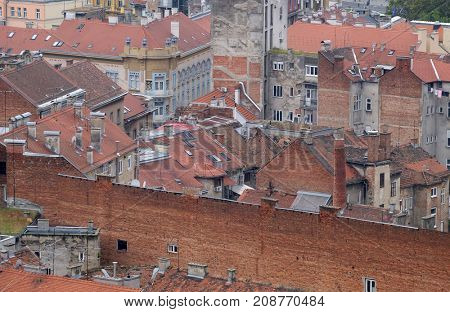 ZAGREB, CROATIA - OCTOBER 16: Roofs of the old city buildings in Zagreb, Croatia on October 16, 2016.