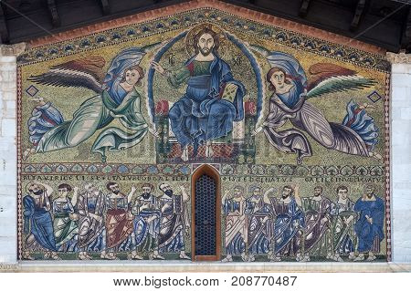 LUCCA, ITALY - JUNE 03: The Ascension of Christ the Saviour with the apostles below, The Romanesque Basilica of San Frediano, Lucca, Tuscany, Italy on June 03, 2017.