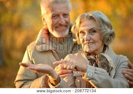 portrait of beautiful caucasian senior couple hugging  in park