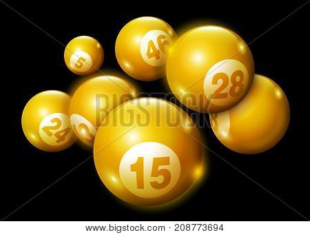 Vector Bingo / Lottery Golden Number Balls Set Isolated on Black Background