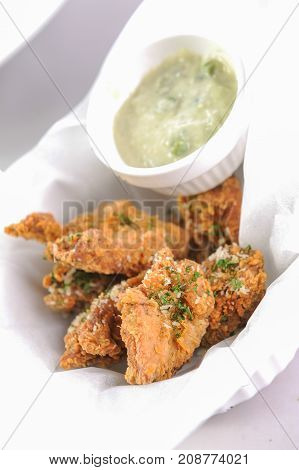 deep Fried chicken with herb and cream sause