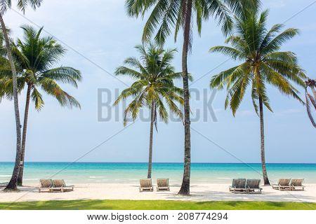 Beach chairs on the white sand beach