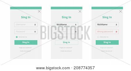 Sing in or registration form and login form on white background. Vector