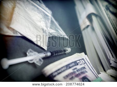 Drug bag along with some dollar bills, conceptual image