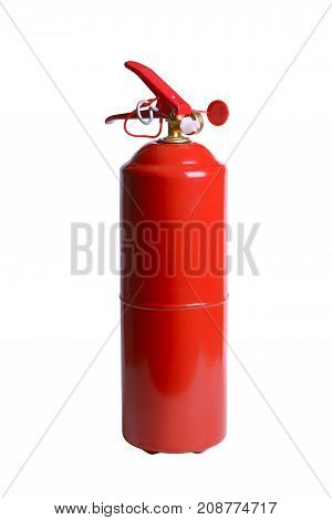 Red powder fire extinguisher isolated on white